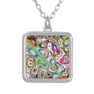 Abstract Blend of Colors Silver Plated Necklace