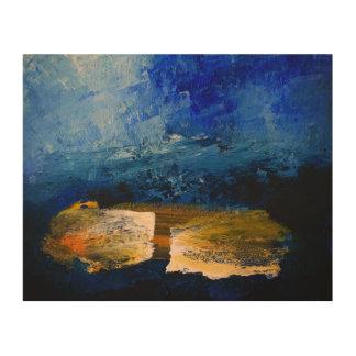 "Abstract Blue  (10"" x 8"") Wood Wall Art"