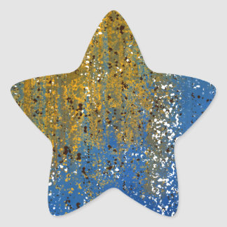 Abstract Blue and Bronze Design Star Sticker