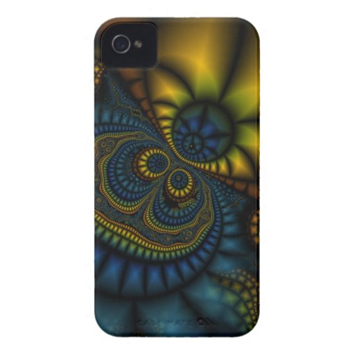 Abstract Blue and gold Fractal Blackberry Case
