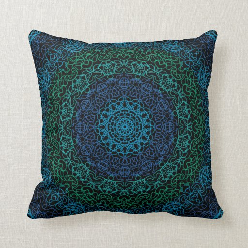 Abstract Blue and Green American MoJo Pillows