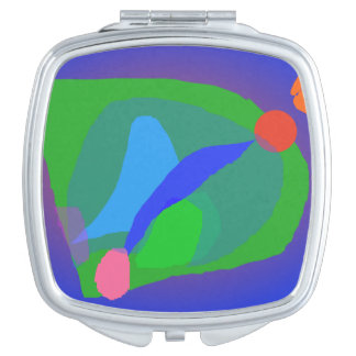 Abstract Blue and Green Composition Mirrors For Makeup