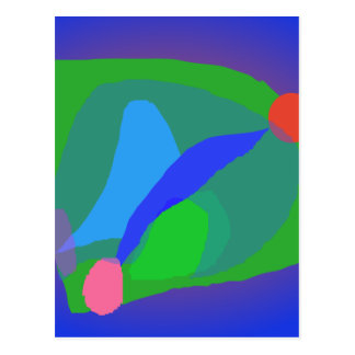 Abstract Blue and Green Composition Postcard