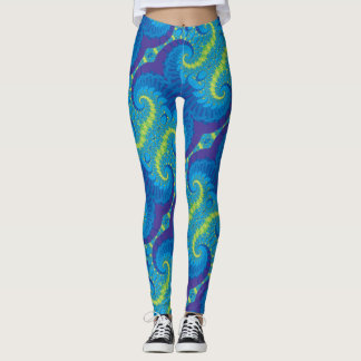 Abstract Blue and Green Spiral Fractal Pattern Leggings