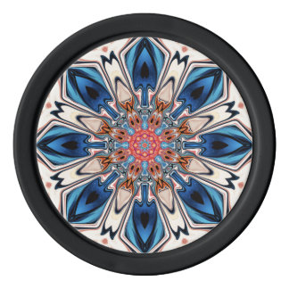 Abstract Blue And Orange Flower Poker Chips