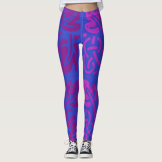Abstract blue and purple leggings
