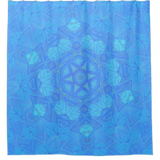 Abstract Blue and Turquoise Snowflake Shower Curtain