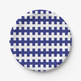 Abstract Blue and White Paper Plate