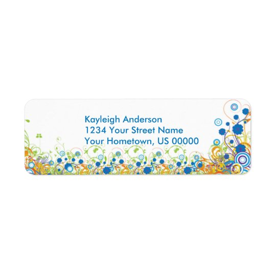 Abstract Blue and Yellow Flowers Return Address La Return Address Label