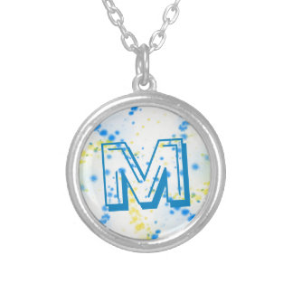 Abstract Blue and Yellow Paint Splatter Monogram Silver Plated Necklace