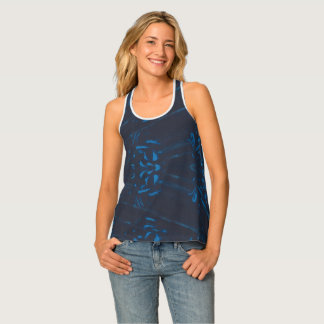 Abstract Blue Angular Design on Black - Tank Tops