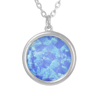 Abstract blue background silver plated necklace