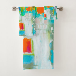 Abstract Blue Bath Towel Set