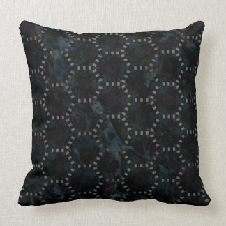 Abstract Blue Black Marble Hexagon Cushion