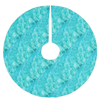 Abstract blue brushed polyester tree skirt