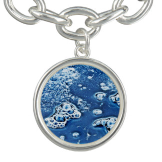 Abstract Blue Bubbles Ice and Water Charm Bracelet