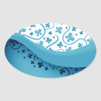 Abstract Blue Butterflies Oval Stickers Stickers
