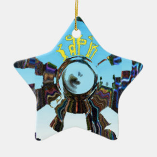 Abstract Blue Ceramic Star Decoration