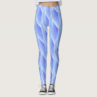 Abstract Blue Curly Wave Pattern #4 Leggings