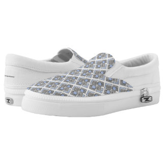 Abstract Blue Diamond Pattern Printed Shoes