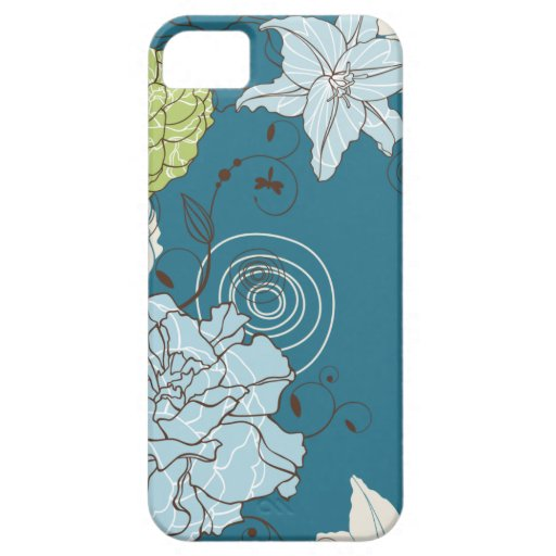 Abstract Blue Floral iPhone 5 Case
