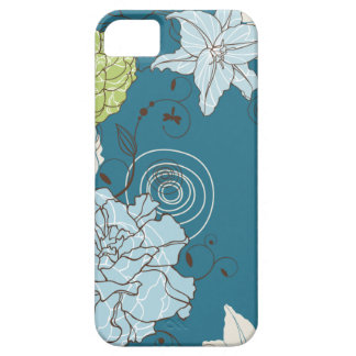 Abstract Blue Floral Barely There iPhone 5 Case