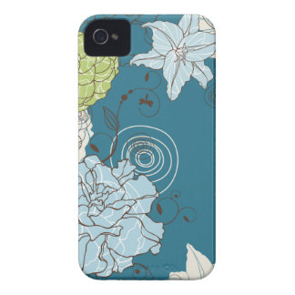 Abstract Blue Floral iPhone 4 Cases