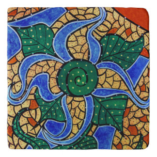 Abstract Blue Flower Bright Colors Trivet