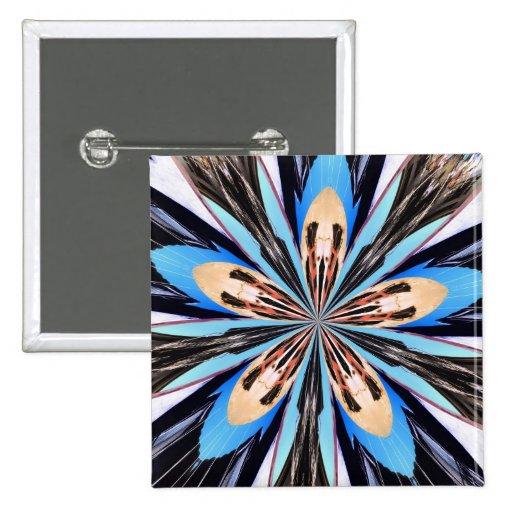 Abstract Blue Flower Petals Fractal Art Buttons