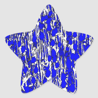 Abstract Blue Flowers Star Sticker