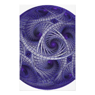 Abstract blue fractal ball artwork sphere shaped stationery paper