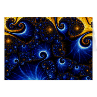 Abstract Blue Fractal Sky Note Card