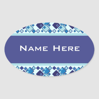 Abstract Blue Geometric Squares Pattern Oval Sticker