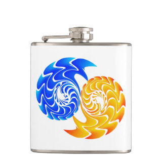 Abstract Blue Gold Yin Yang Fishes Balance Hip Flask