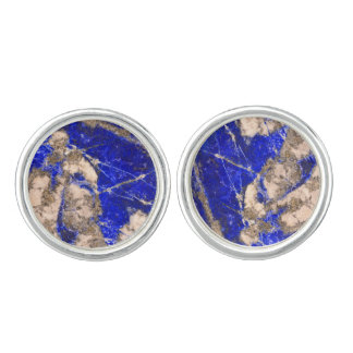 Abstract blue granite-marble cufflinks
