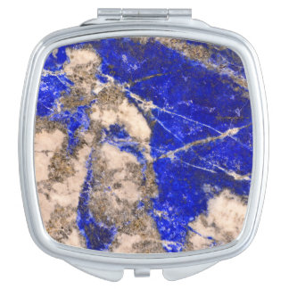 Abstract blue granite-marble mirror for makeup