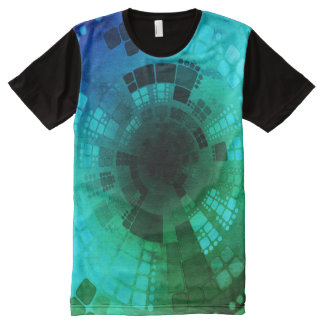 Abstract Blue Green All-Over Print T-Shirt