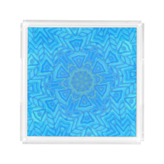 Abstract Blue Green and Turquoise Ice Flower Acrylic Tray