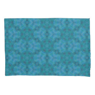 Abstract Blue & Green Floral Design Pattern Pillowcase