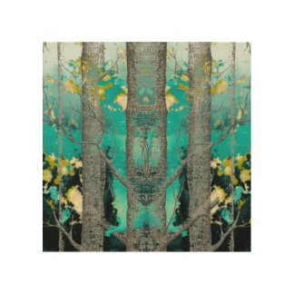 Abstract Blue Green Forest Art Wood Prints