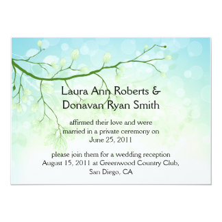 Abstract Blue Green Leaves Post Wedding Invitation