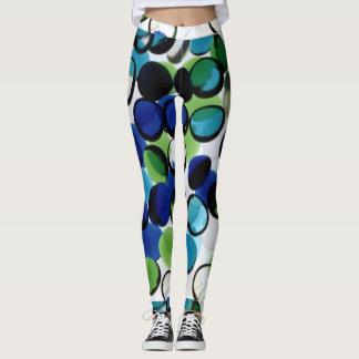 Abstract Blue Green Leggings