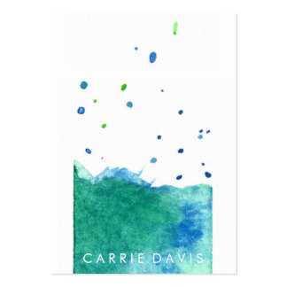 ABSTRACT BLUE GREEN WATERCOLOR SPLASH PACK OF CHUBBY BUSINESS CARDS