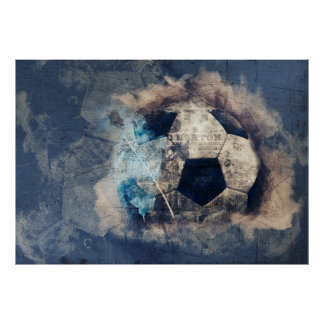 Abstract Blue Grunge Soccer Poster
