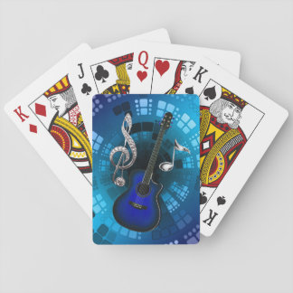 Abstract Blue Guitar Silver Music Notes Playing Cards