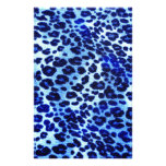 Abstract Blue Hipster Cheetah Animal Print Customized Stationery