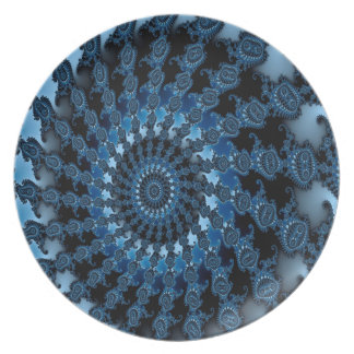 Abstract Blue Ice Pattern Plate