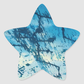 Abstract Blue Ink Splatters Funky Grunge Design Stickers