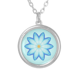 Abstract Blue Lotus Flower Painting Necklace