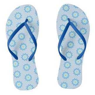 Abstract Blue Lotus Flowers Painting FlipFlops Thongs